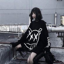 QWEEK Hip Hop Graffiti T-shirt 2021 Mode Koreanischen Stil Langarm T-shirt Harajuku Punk Streetwear Mädchen Gothic Mall Goth Tops