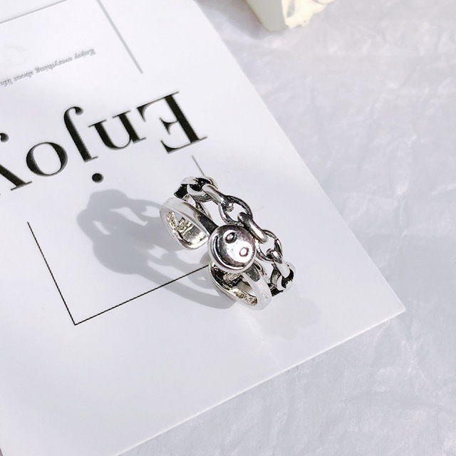 Retro Neutral Multi-layer Smiley Face Wide Ring for Women Antique Silver Color Opening Student Ring Hip-hop Punk Trend New 2020 2