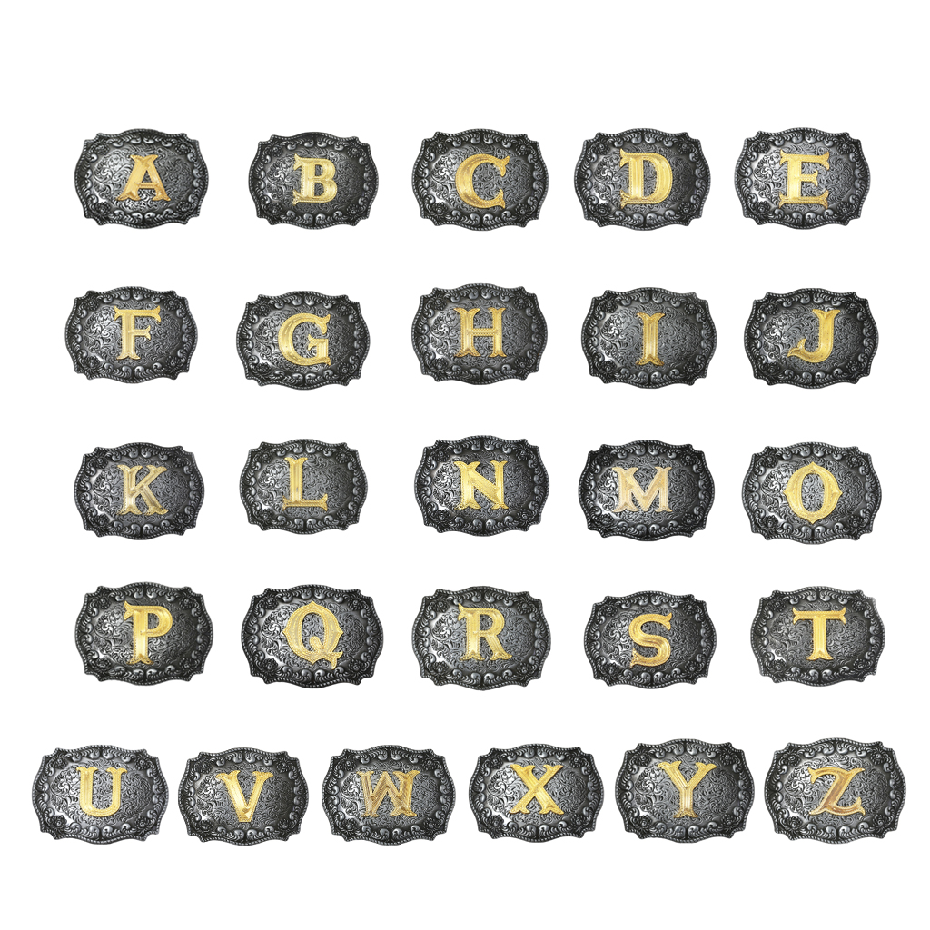 Fashion Vintage Style Western Belt Buckles Golden Initial Letters A-Z Waist Belt Buckle Indian Novelty Metal Buckle