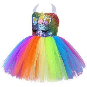 Image 4 - Cute Kids Unicorn Theme Birthday Party Unicorn Dress Girl Rainbow Sequin Top Christmas Dress for Baby Girls Unicorn Baby Clothes