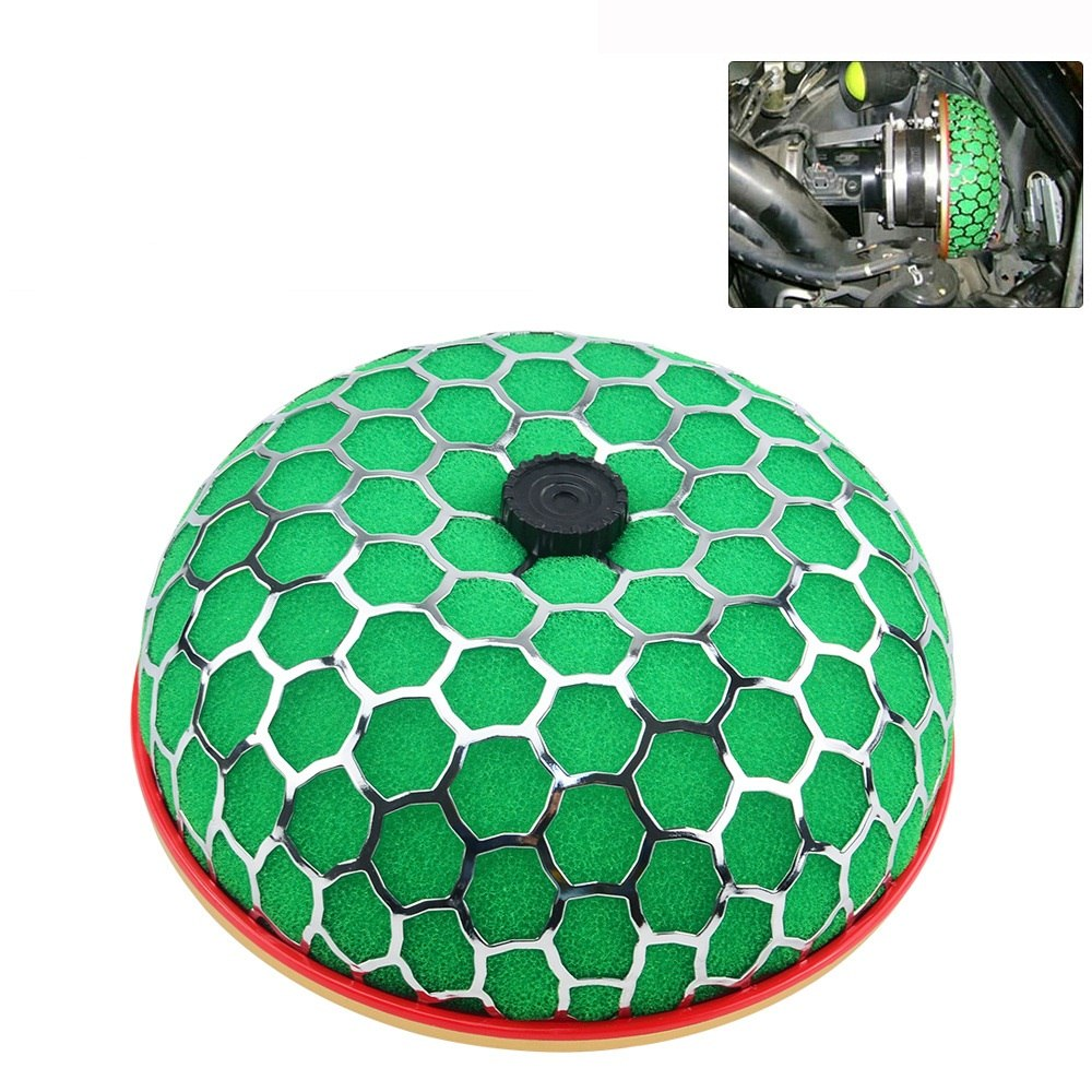 green DishKooker Air Filter 100mm Round Mushroom Design Air Filter Car Intake Flow Cleaner Supply