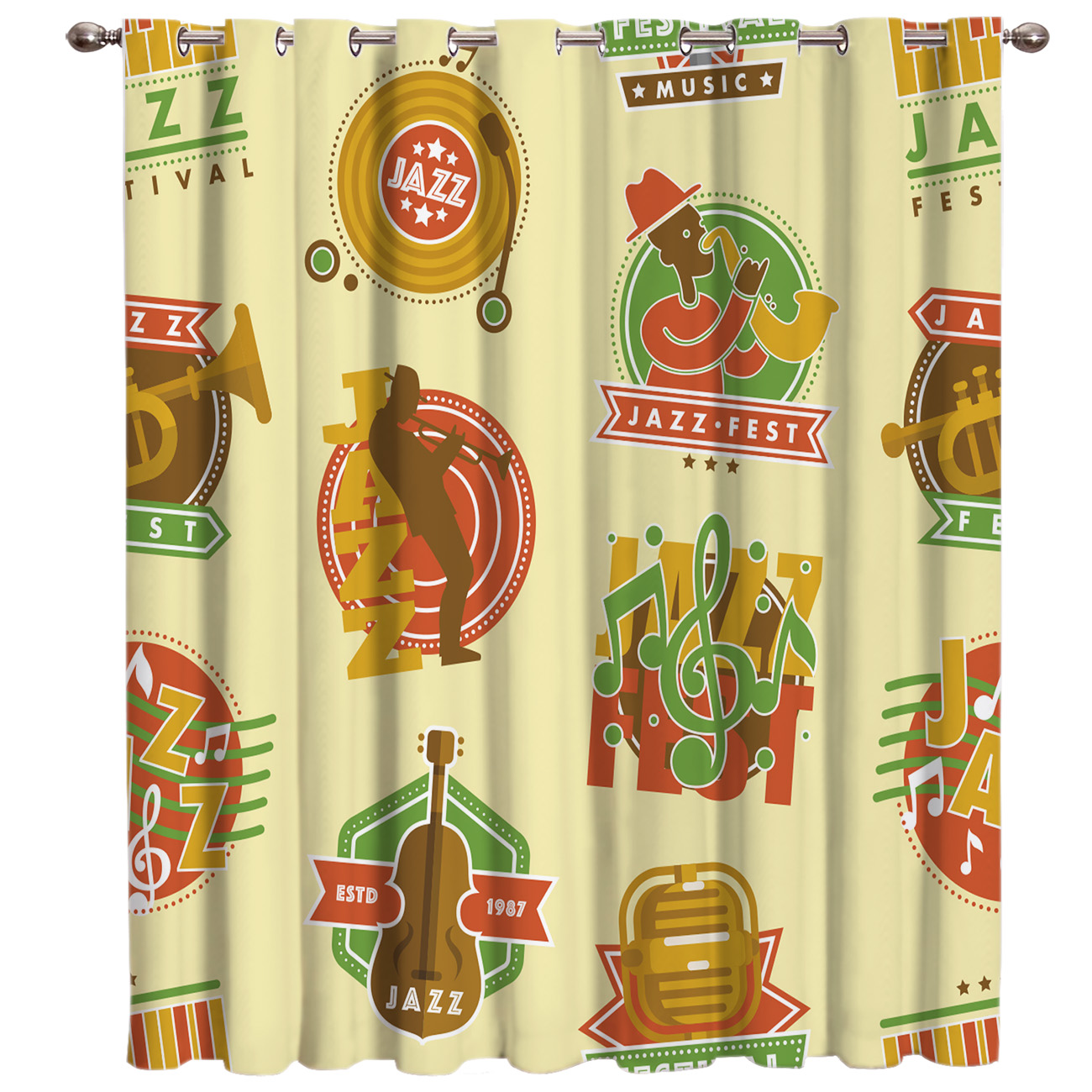 Jazz Band Window Treatments Curtains Valance Room Curtains Large Window Curtain Lights Bathroom Outdoor Drapes Decor Window