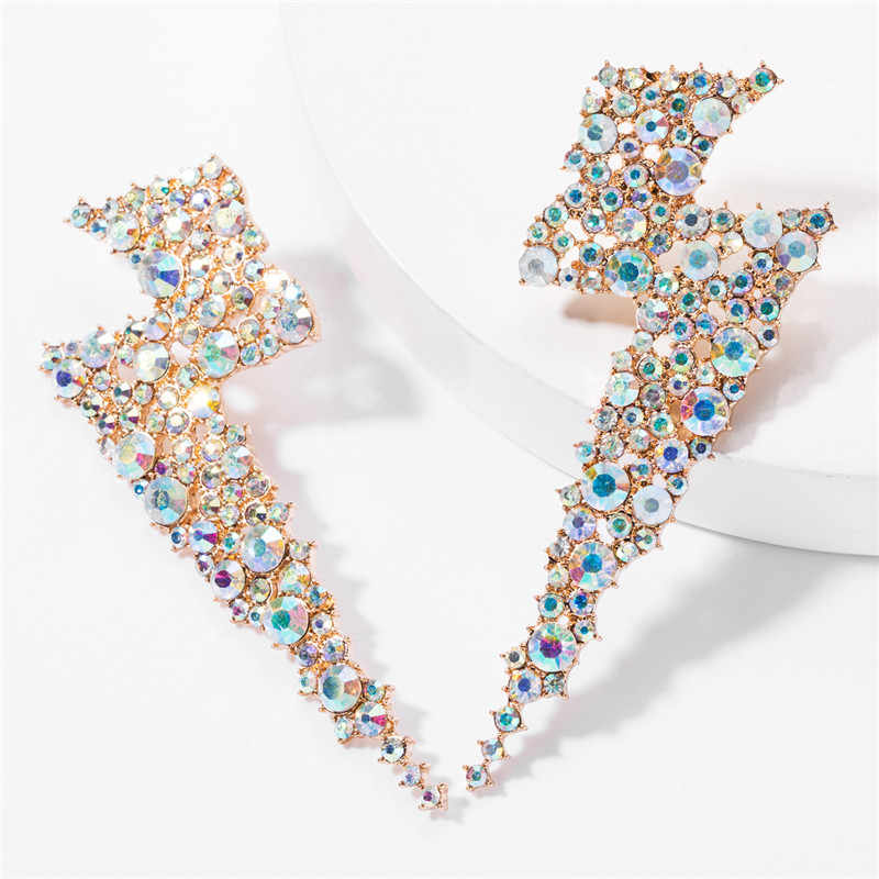 2019 Trendy Exaggerated Metal Rhinestone Lightning Stud Earrings for Women Simple European Style Geometric Earring Party Jewelry