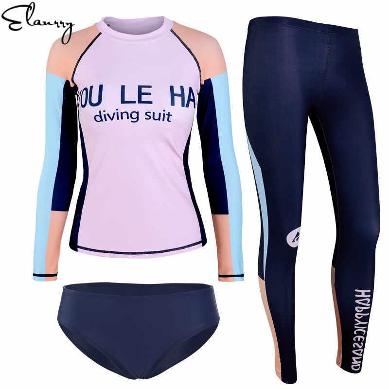 Wanita Lengan Panjang Musim Panas Surfing Pakaian Seksi 2020 Terbaru Pakaian Patchwork Rashguards Maillot De Bain Femme Pantai