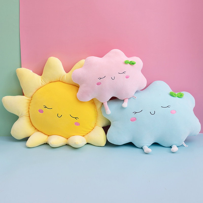 Cute Sun Cloud Plush Pillow Stuffed Soft Creative Plush Sun Cloud Toy Car Pillow Home Decor Kids Toys