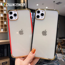 Kowkaka Transparent Candy Case Colorful For iPhone 11 Pro Max 7 8 6 6s Plus X XR XS Max Phone Case Solid Color Soft Cover Couple(China)