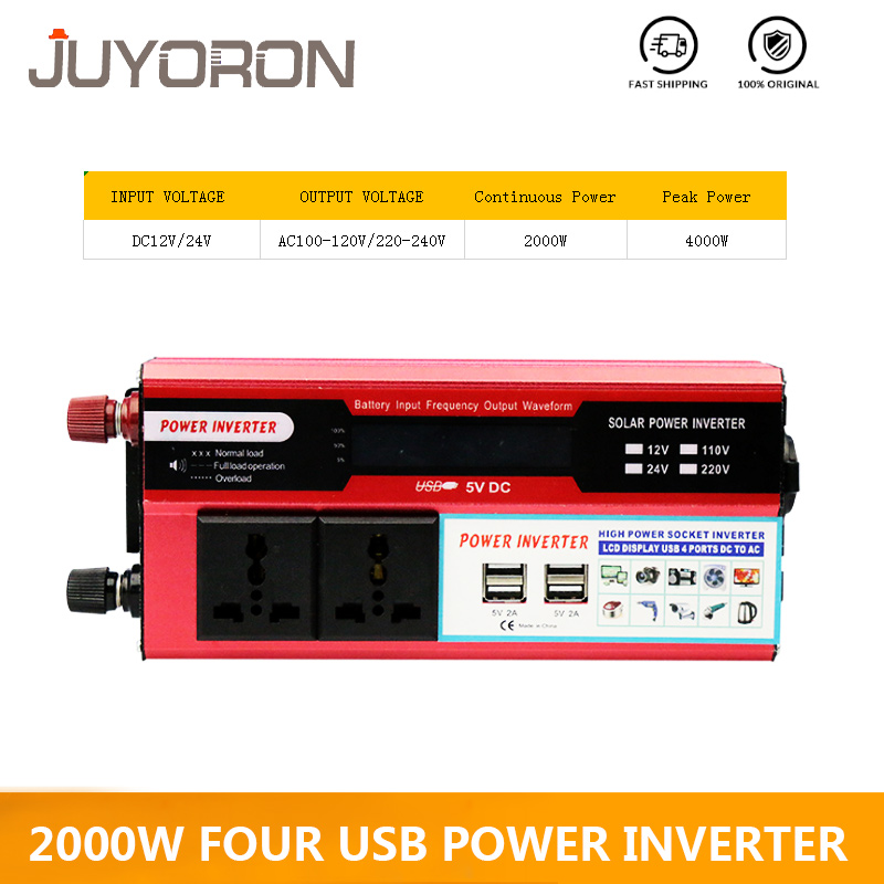 2000W Four USB Watt DC 12V to AC 220V Portable Car Power Inverter Charger Converter Adapter DC 12 to AC 220 Modified Sine Wave