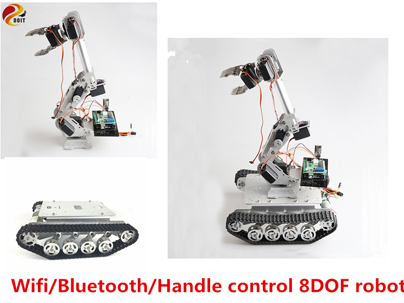 SZDOIT Wifi/Bluetooth/Handle Control 8DOF Metal Robot 8-Axis Robotic Arm with Gripper +<font><b>TS100</b></font> <font><b>Tank</b></font> Chassis Kit Servos for Arduino image