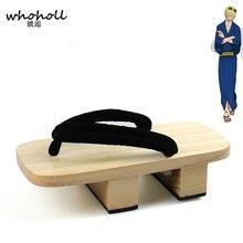 WHOHOLL ワンピースサンジ着物コスプレ衣装の男下駄スリッパ日本木製下駄フリップフロップマンサンダル