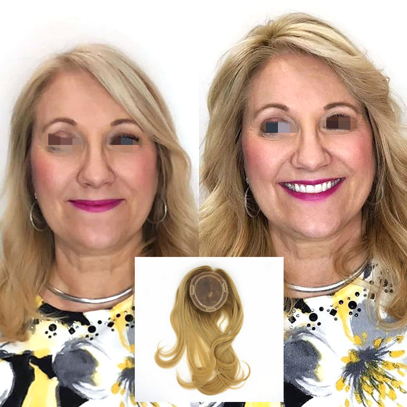 Hstonir European Remy Hair Hairpiece Handtied Magic Top Piece With Clips Black Roots With Blond For Women TP04