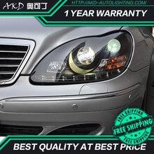 Reflektor AKD do stylizacji samochodu do reflektorów BENZ W220 1999-2005 S320 S350 reflektor LED DRL Angel Eye Hid Bi Xenon akcesoria samochodowe