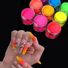 10ML 9 colour Nail Powder bottled fluorescence color crystal powder extend pollen three in one Dip Powde Art Nail Decoration