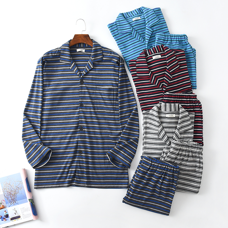 Men's Pajamas Lounge Long-Sleeve Cotton Autumn Pullover Cardigan Stripe