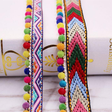 1yards/Lot Lace Ribbon Pom Decoration Tassel Ball Fringe Fabric DIY Sewing Garment Shoes Bag Gift Materials Accessory