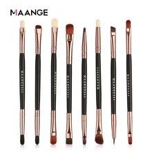 Maange conjunto de pincéis de maquiagem, 5/8 peças, cosméticos, dupla ponta, sombra, sobrancelha, punho de madeira preto, cabelo de nylon macio ferramenta de maquiagem feminina