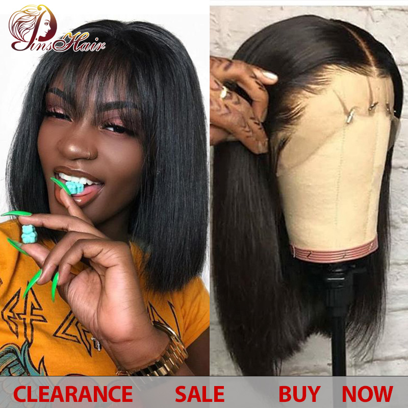 Lace Bob Wigs For Women Natural Black Brazilian Straight Lace Wigs 13*4 Human Hair Bob Wigs Density No Tangle Pinshair Non-remy