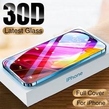 Novo 30d capa completa de vidro protetor de proteção para o iphone 12 11 pro xs max xr x protetor de tela no iphone 11 12 mini filme de vidro temperado