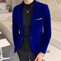 Мужские золотые бархатные блейзеры, осенне-Весенняя модная мужская Тонкая Повседневная куртка, Мужской Блейзер, мужская одежда M-5XL