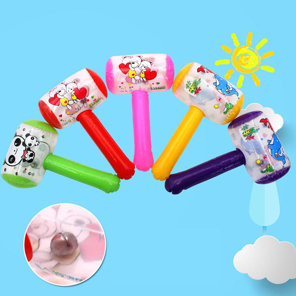 1Pc New Hot Cute Cartoon Inflatable Hammer Air Hammer With Bell Kids Children Blow Up Noise Maker Toys Color Random