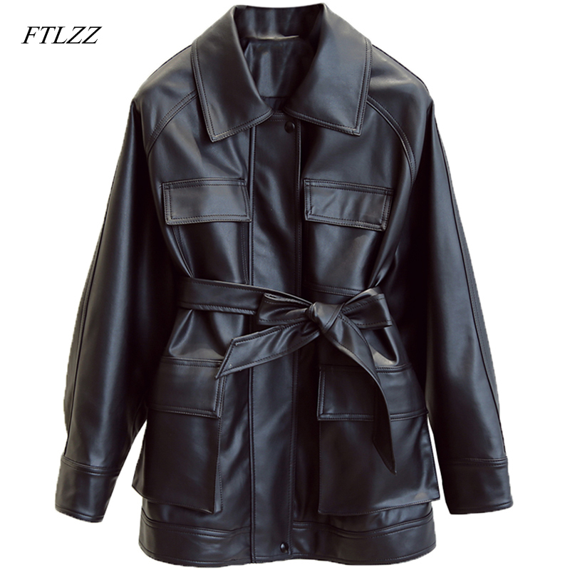 FTLZZ Slim PU Coats Women Faux Leather Jackets Vintage Motor Biker Jackets Elegant Tie Belt Waist Pockets Buttons Coats