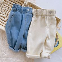 New Spring Toddler Boys Trousers Autumn Boys Soft High Waist Jeans for Baby Boys Pants Children Clothing Kids Jeans 1 2 3 4Year cheap Casual CN(Origin) Fits true to size take your normal size ED110503 Elastic Waist Unisex Solid Regular Light boys jeans