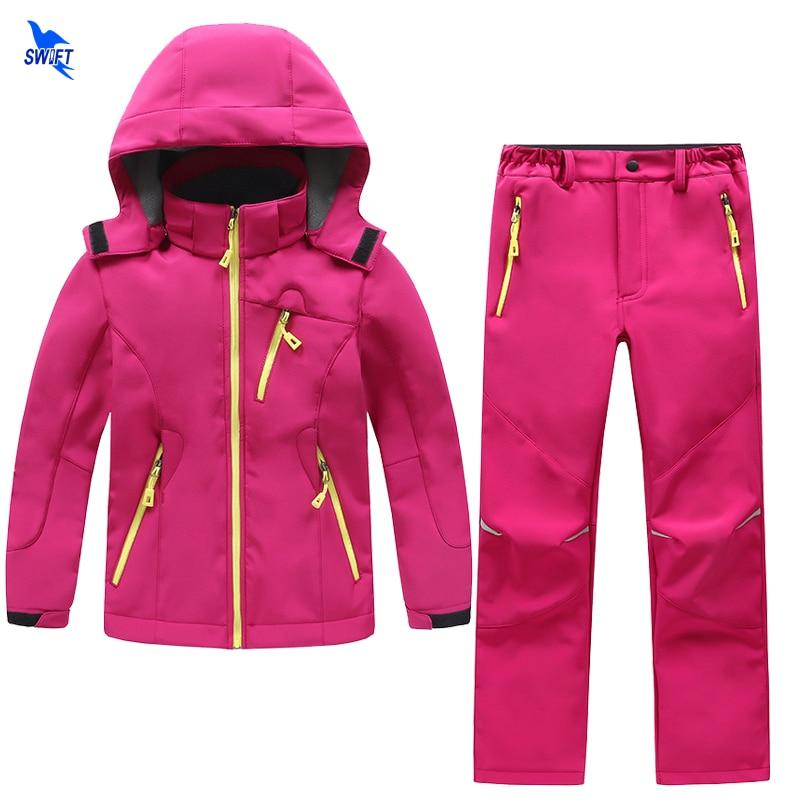 2 Pcs Outdoor Waterproof Kids Softshell Hiking Clothing Boys Girls Winter Fleece Jacket+Pants Skiing Camping Trekking Sport Suit