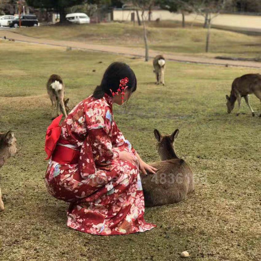 Women's Japanese Robe Traditional Geisha Satin Kimono Dress Long Bathrobe Luxury New Year Rabbit Girls Costumes Yuakata