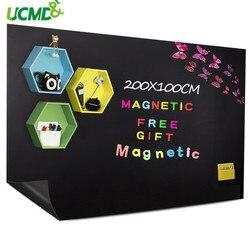 Pizarra magnética de pizarra de la escuela pegatina extraíble para pared pegatinas apoyo tiza y la celebración de imanes de 200x100 CM