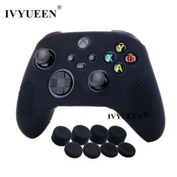 IVYUEEN Anti-slip Protective Skin for XBox Series X S Controller Silicone Gel Case with Joystick Grips Analog Thumb Stick Caps 1