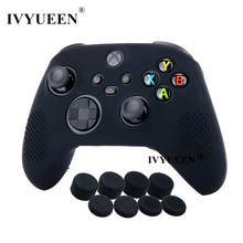IVYUEEN Anti-slip Protective Skin for XBox Series X S Controller Silicone Gel Case with Joystick Grips Analog Thumb Stick Caps