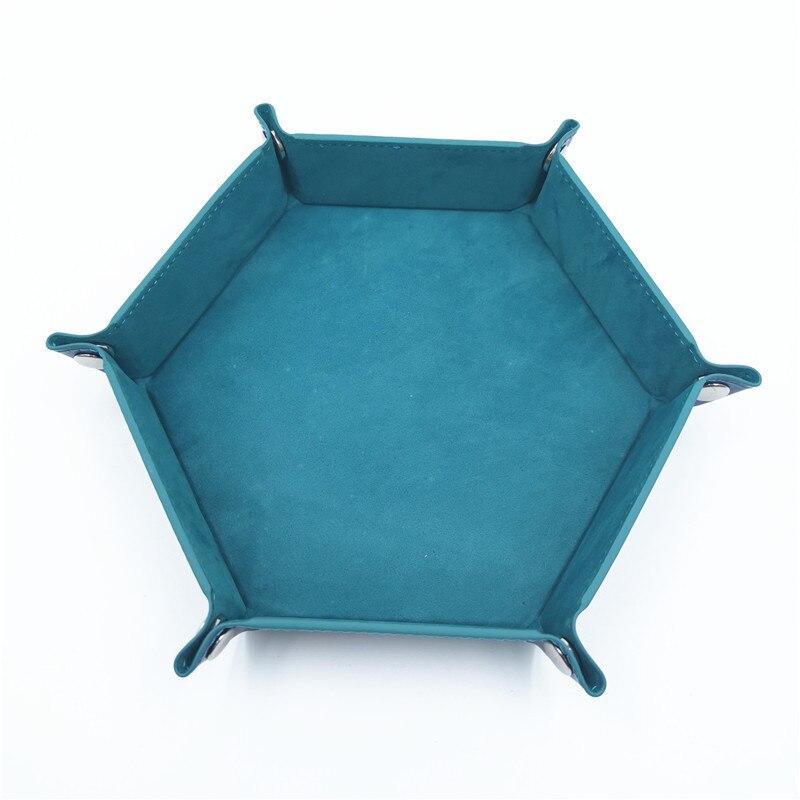 Игральные кости DND лоток dados de rol для хранения 14 цветов шестигранный бархатный тканевый Пинцет дисковый складной ящик для хранения pu лоток Настольный ящик для хранения - Цвет: dark green