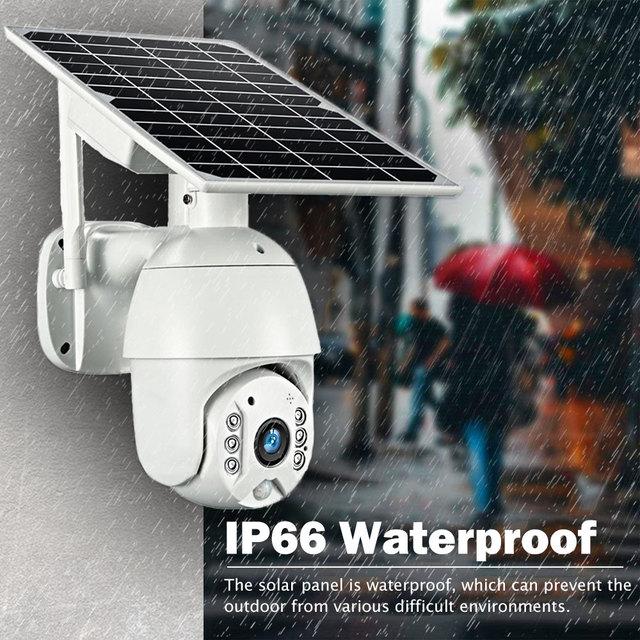 HISMAHO 4G SIM Card 1080P IP Camera WIFI 8W Solar Panel Battery Security Camera Outdoor PTZ CCTV Camera Smart Security Monitor 4