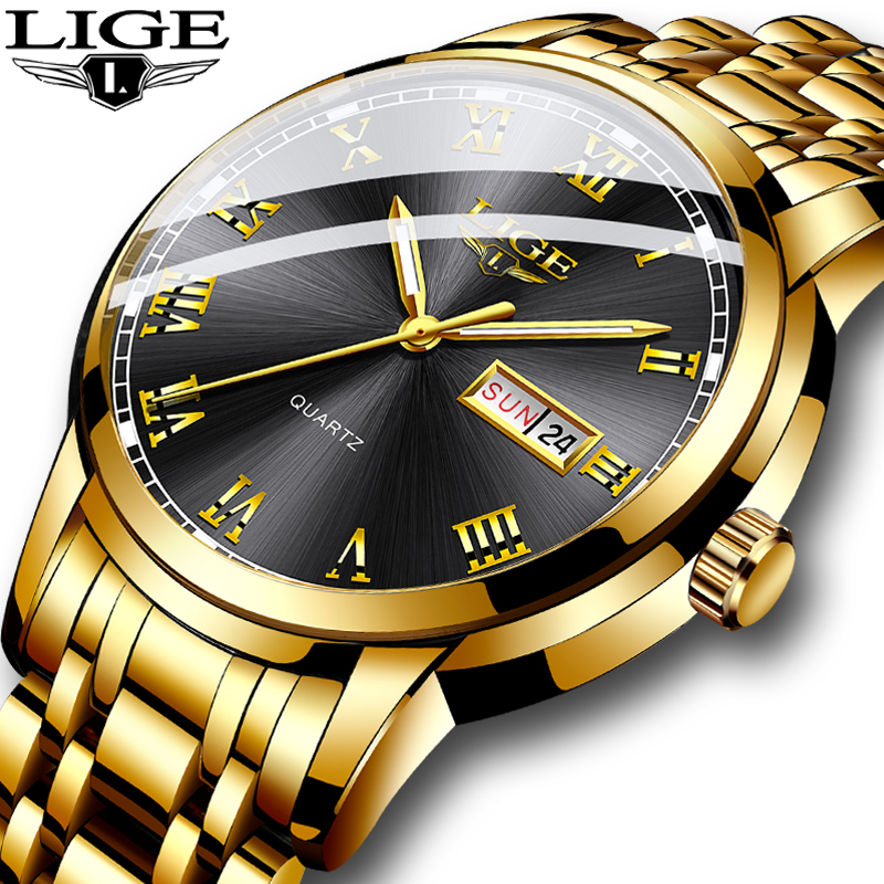Relogio Masculino LIGE Gold Men Watch Waterproof Stainless Steel With Date Week Quartz Watches Men's Luxury Business Dress Clock