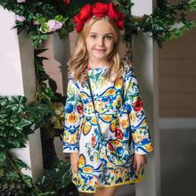 Princesa meninas vestido de manga longa 2019 outono marca crianças vestido de natal com saco impresso vestidos para meninas roupas