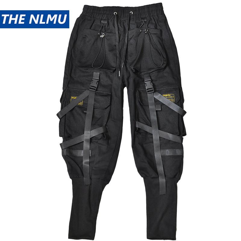 Hip Hop Black Joggers Pants Men Cargo Pants Streetwear Men Pockets Ribbon Harem 2020 Spring Fashion Mens Pant WO100