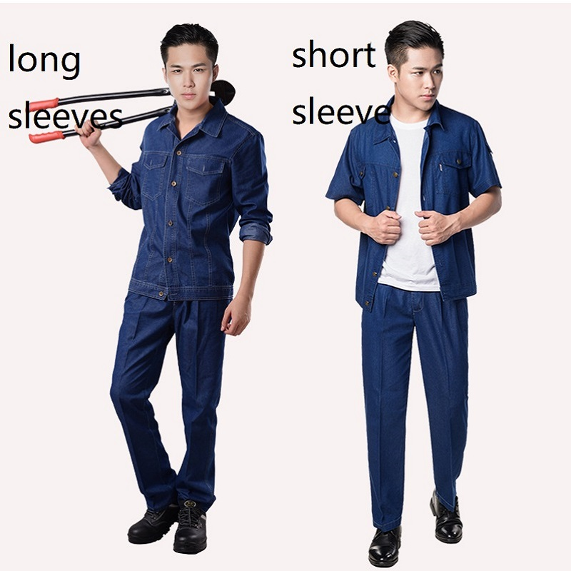 Mens Denim Work Uniform Flame Retardant Welding Suit Coverall Overalls Worker Jacket Repairman Machine Auto Repair Anti-sparking