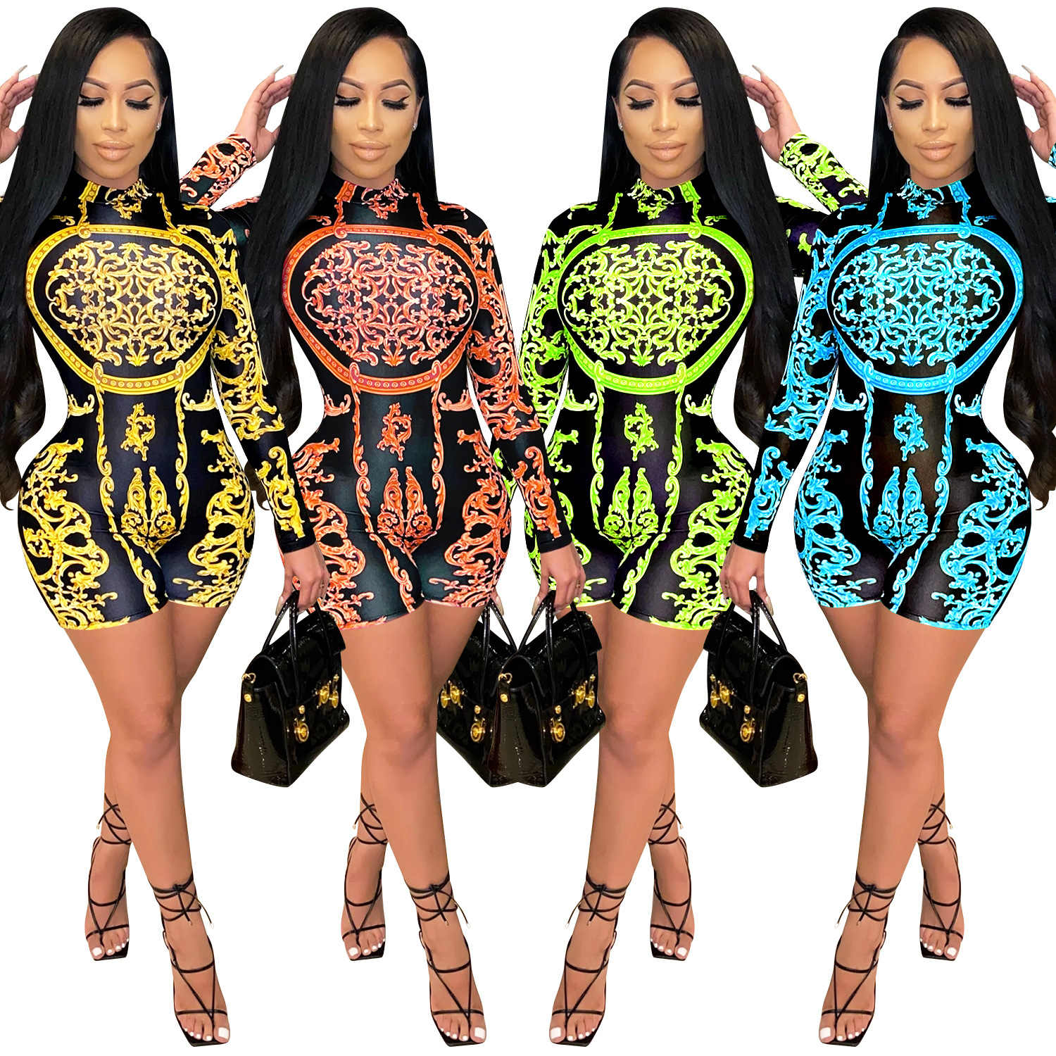 Zoctuo Playsuit Vrouwen Coltrui Sexy Rompertjes Jumpsuit Herfst Lange Mouw Print Speelpakjes Party Club Skinny Shorts Jumpsuits