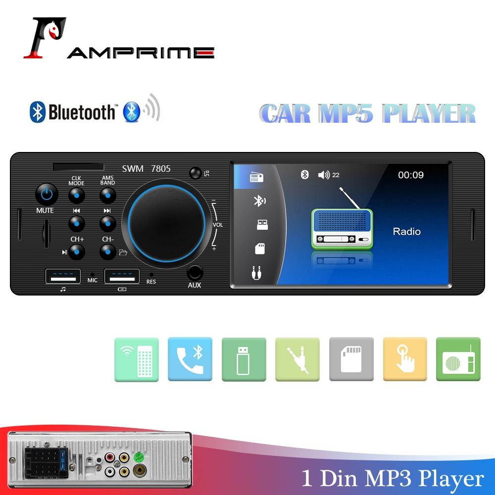 AMPrime Авто Радио 1 din 12V Bluetooth стерео аудио MP5 плеер FM радио приемник Поддержка Aux вход SD USB MMC Пульт дистанционного управления