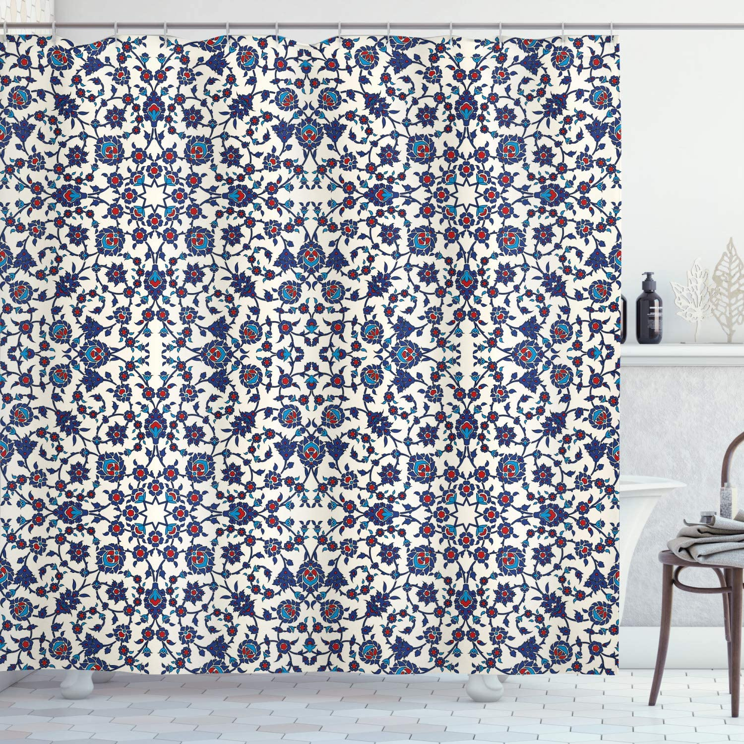 Orient Shower Curtain Moroccan Floral Pattern with Victorian Rococo Baroque Design Bathroom Decor Set with Hooks 70