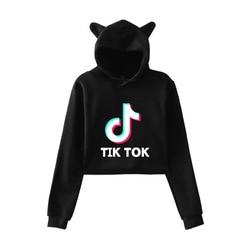 2019 w nowym stylu Tik Tok Douyin luźne i Plus-size kocie uszy damska sukienka z kapturem z pępkiem 1