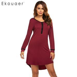Image 2 - Ekouaer נשים סתיו כתונת לילה Nightwear Sleepshirts שמלת O צוואר ארוך שרוול כפתור טלאי אביב הלבשת לילה שמלה