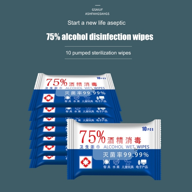 10 sheets=1*Pack 75% Alcohol Wipes Portable Hand Towel Swabs Pads Disinfection Wipes Antiseptic Cleanser Cleaning Sterilization 2
