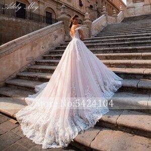 Image 2 - Adoly mey glamórous apliques renda, corte em linha a, vestidos de casamento, pescoço em barco, frisado, princesa, de noiva, plus size 2020