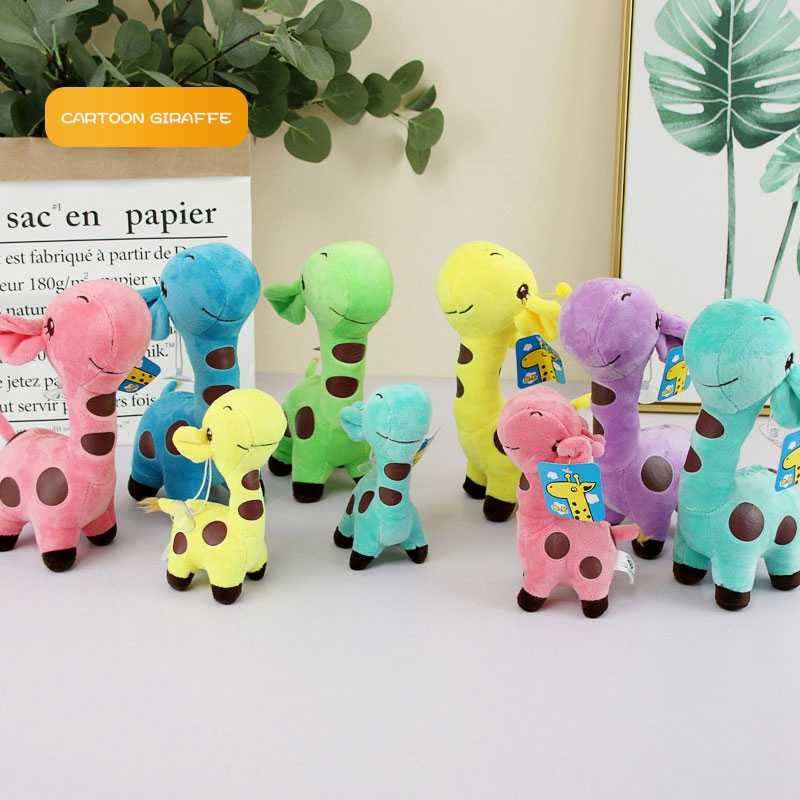 Brinquedos do bebê Peluche 18 centímetros Kawaii Dos Desenhos Animados Girafa de Pelúcia Bichos de pelúcia de Presente de Natal Pingente de Aniversário Feliz para Crianças de Pelúcia Pingente de Brinquedo