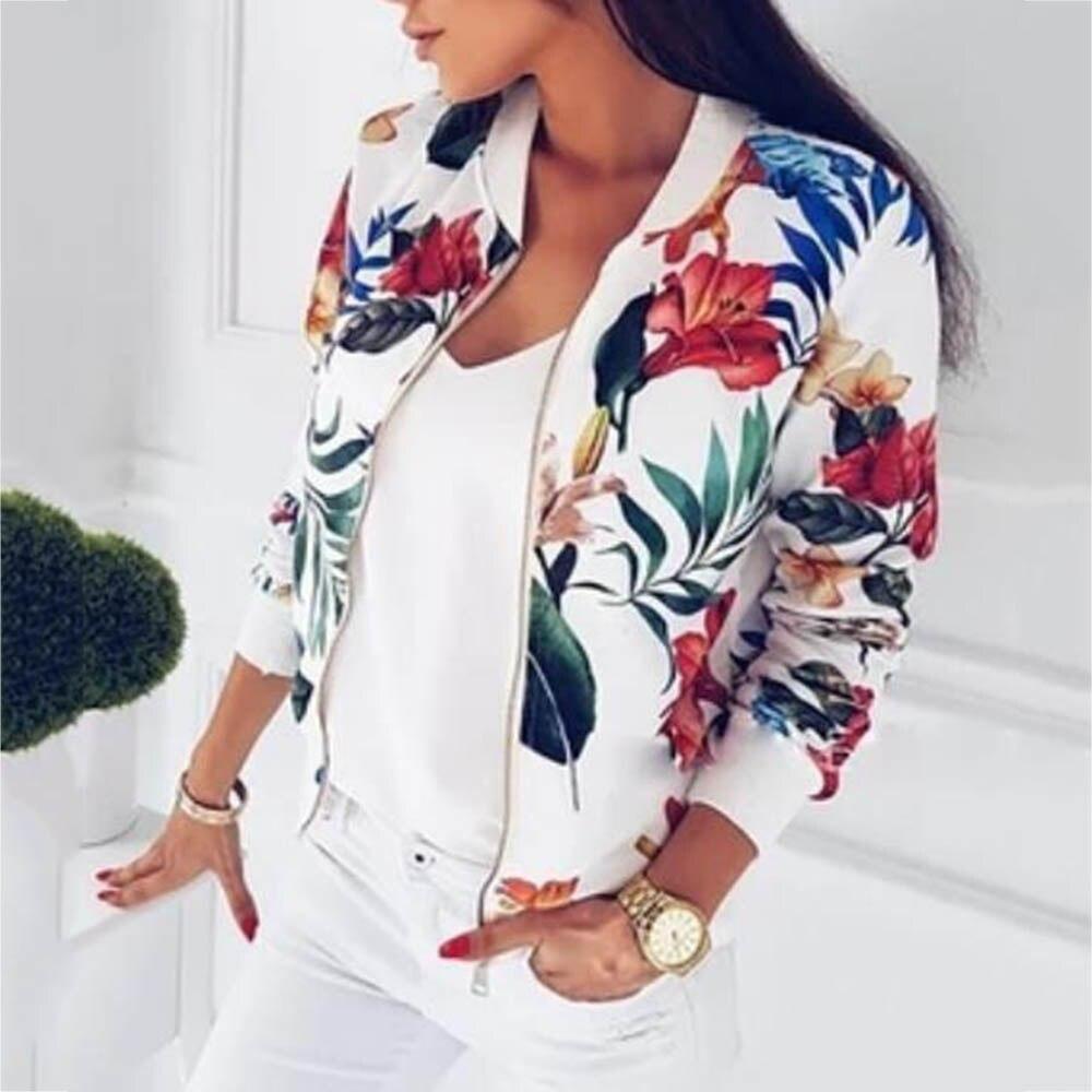 8 Colors Bomber Basic Jacket Women Zipper Long Sleeve Outwear Casual Tops Female Coat Kimono Basic Bomber Jacket Women Floral