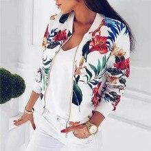 цена на 8 Colors Bomber Basic Jacket Women Zipper Long Sleeve Outwear Casual Tops Female Coat Kimono Basic Bomber Jacket Women Floral