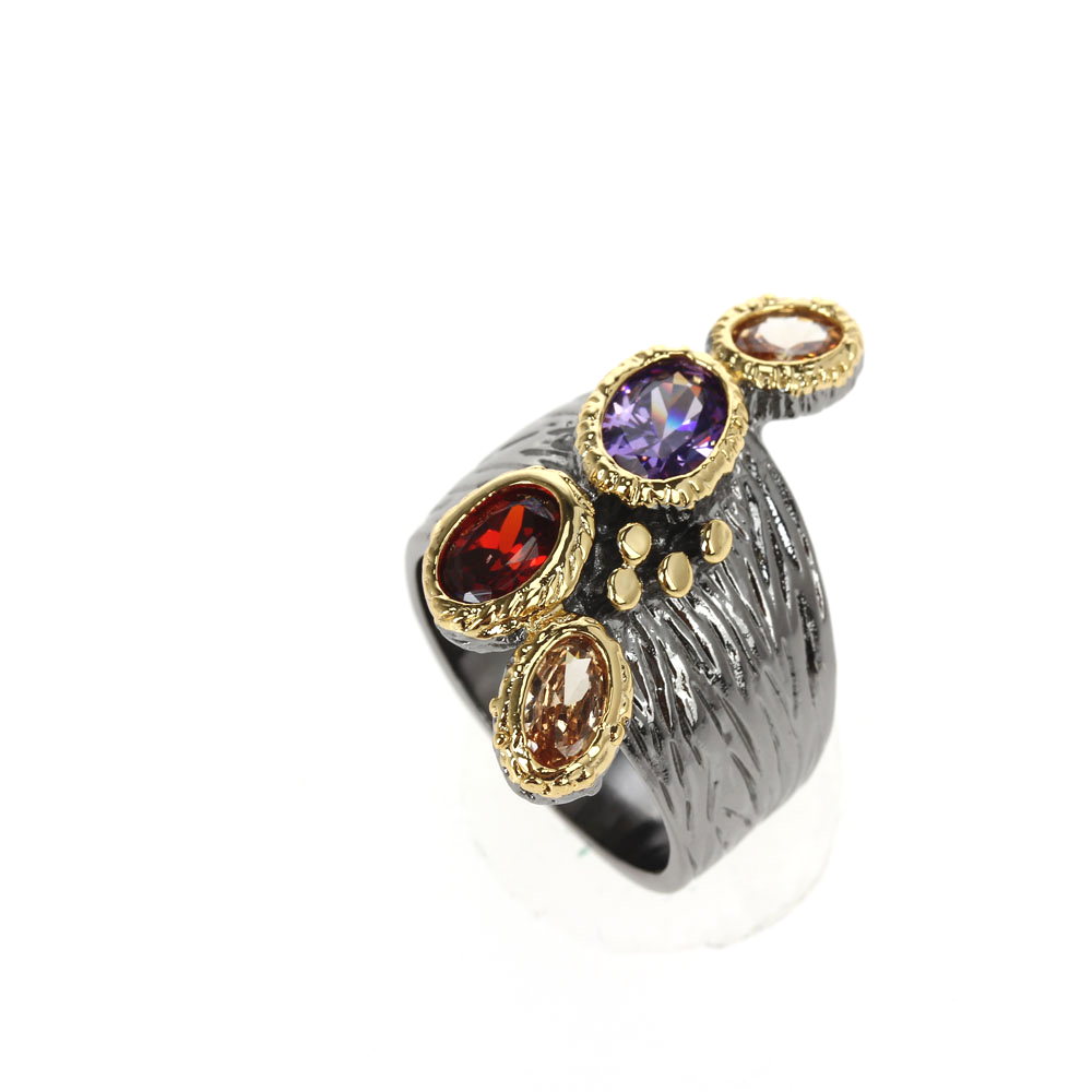 WA11781 DreamCarnival1989 Creative Multi-Colors Cubic-Zirconia-Ring for Women Black-Gold Gothic Rings Amazing Price Hot Pick (7)