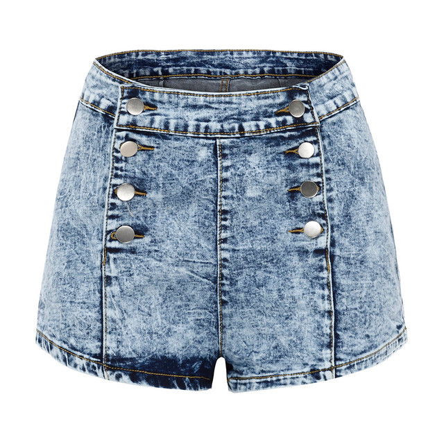 Fashion High Waist Jeans Shorts Bottom Wear Women color: Blue