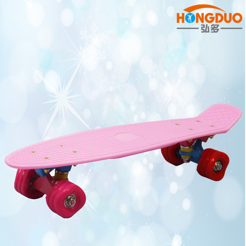 Manufacturers Direct Selling New Style Water Transfer Wave Round Fish Skateboard 22-Inch Children Four Wheel Plastic Slide Plate