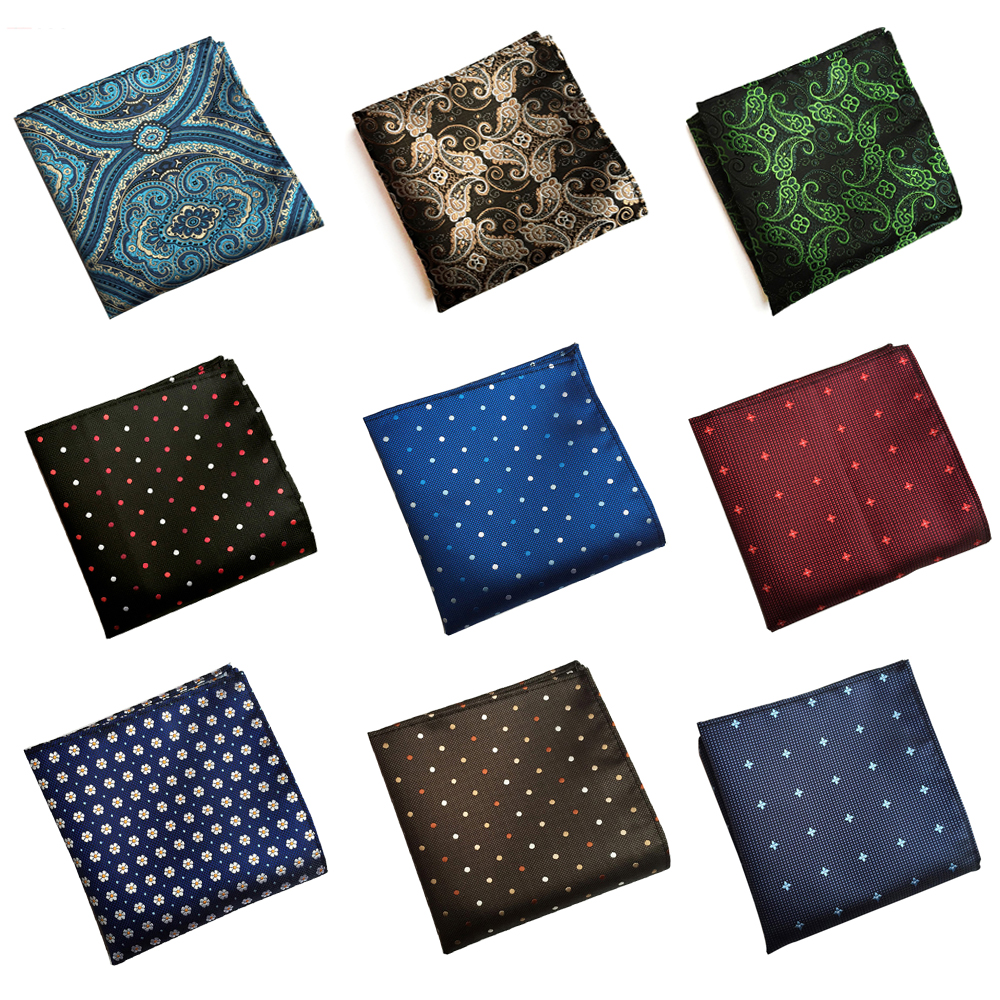 Mens Pocket Square Paisley Polka Dots Print Handkerchiefs Wedding Party